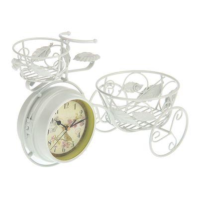"""Часы настольные """"Велосипед"""", белые, с подсвечником и корзиной, 40х24 см"""