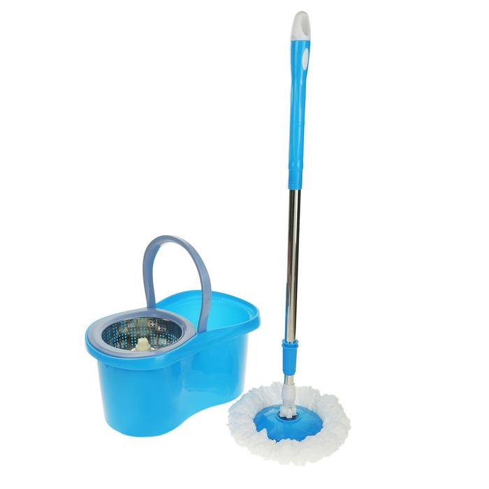 Набор для уборки: швабра, ведро с металлической центрифугой, дополнительная насадка, цвет МИКС