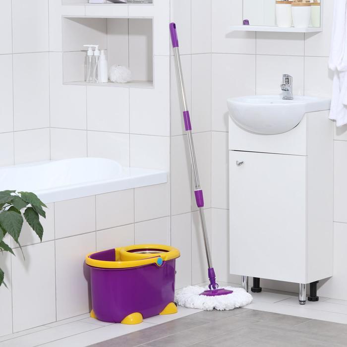 Набор для уборки: ведро на ножках с педальным отжимом и металлической центрифугой 8,5 л, швабра, запасная насадка из микрофибры, цвет МИКС - фото 4644037