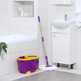 Набор для уборки: ведро на ножках с педальным отжимом и металлической центрифугой 8,5 л, швабра, запасная насадка из микрофибры, цвет МИКС - фото 4644038