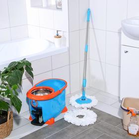 Набор для уборки: ведро на ножках с педальным отжимом и металлической центрифугой 8,5 л, швабра, запасная насадка из микрофибры, цвет МИКС - фото 4644046