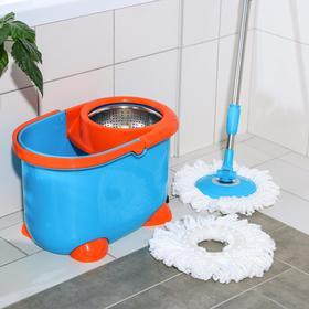 Набор для уборки: ведро на ножках с педальным отжимом и металлической центрифугой 8,5 л, швабра, запасная насадка из микрофибры, цвет МИКС - фото 4644047