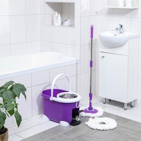 Набор для уборки: ведро на ножках с педальным отжимом и металлической центрифугой 8,5 л, швабра, запасная насадка из микрофибры, цвет МИКС - фото 4644050