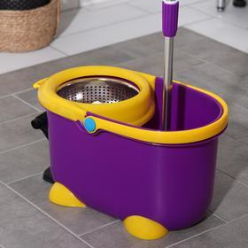 Набор для уборки: ведро на ножках с педальным отжимом и металлической центрифугой 8,5 л, швабра, запасная насадка из микрофибры, цвет МИКС - фото 4644039