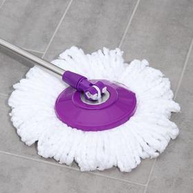Набор для уборки: ведро на ножках с педальным отжимом и металлической центрифугой 8,5 л, швабра, запасная насадка из микрофибры, цвет МИКС - фото 4644043