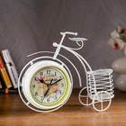 Часы настольные серия Ковка. Велосипед с подсвечником, d=12см, белые 24*29см