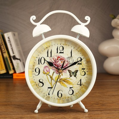 """Часы настольные """"Волна"""", d=16.5 см, белые"""