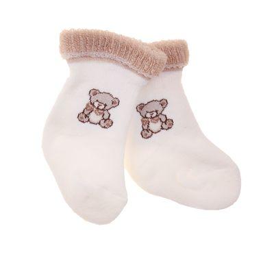 Носки детские плюшевые, цвет экрю, размер 6-8 (3-6 мес)