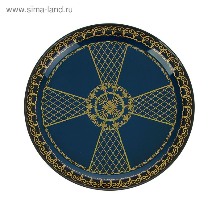 """Поднос """"тагильский узор"""" крест"""" D=32 см, синий фон"""