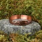 """Bracelet """"Bloom"""" plate, narrow, copper"""