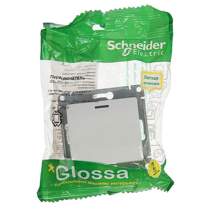 """Переключатель """"Glossa"""" SchE GSL000163, 10 А, 1 клавиша, скрытый, с подсветкой, цвет белый"""