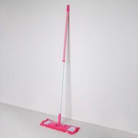 Швабра плоская, телескопическая ручка 72-121 см, насадка микрофибра букли 40×10 см, цвет МИКС - фото 1709488