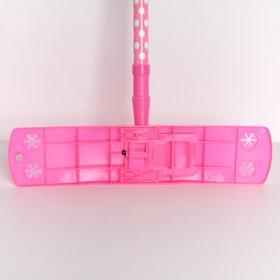 Швабра плоская, телескопическая ручка 72-121 см, насадка микрофибра букли 40×10 см, цвет МИКС - фото 1709490