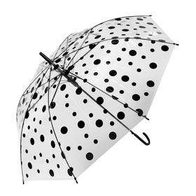 Зонт детский «Горохи», полуавтоматический, r=45см, цвет прозрачный/чёрный