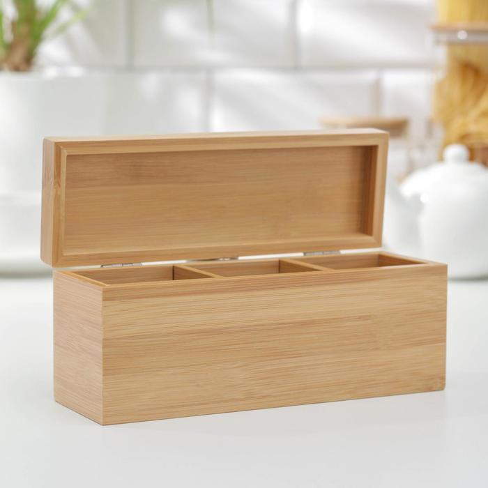 Ящик для чая, 3 секции, бамбук, 21×7×9 см