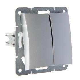 """Выключатель """"Дуэт"""" SchE WDE000353, 10 А, 2 клавиши, скрытый, с подсветкой, цвет серебро"""