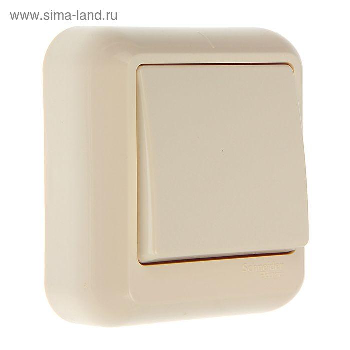 """Выключатель """"Прима"""" SchE A16-051-SI, 6 А, 1 клавиша, наружный, цвет бежевый"""