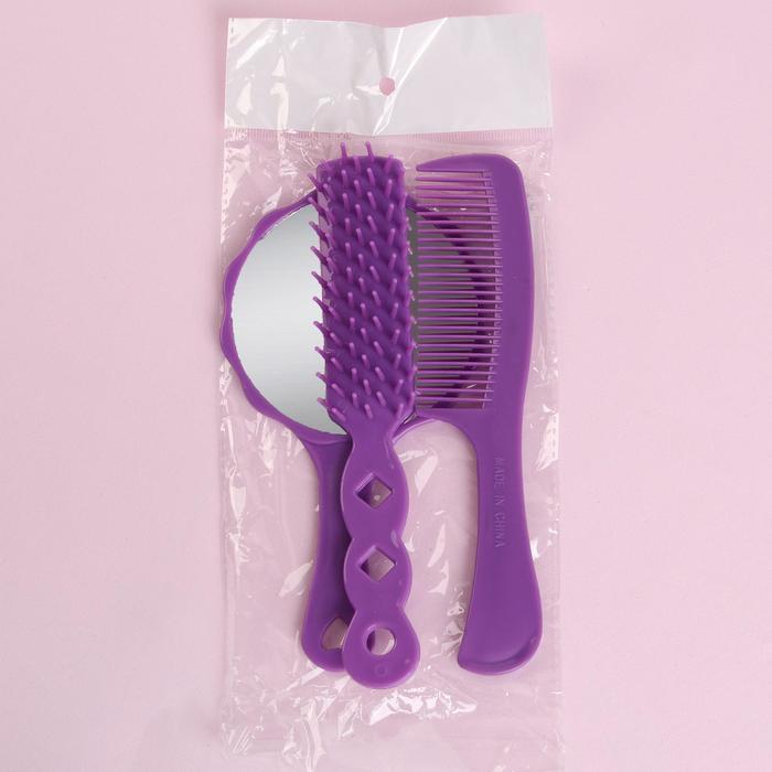 Набор 3 предмета: расчёска с ручкой, расчёска массажная, зеркало, 15,5см, цвет МИКС