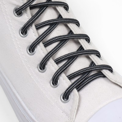 Шнурки для обуви, d = 4,5 мм, 110 см, пара, цвет чёрно-серый