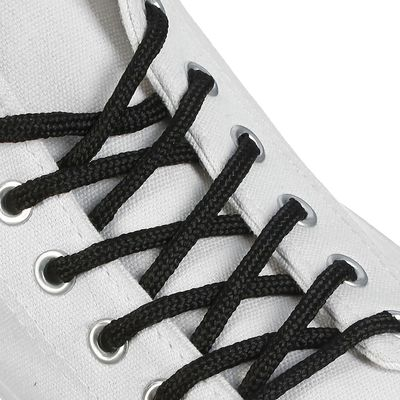 Шнурки для обуви круглые, d=4,5мм, 150см, цвет чёрный
