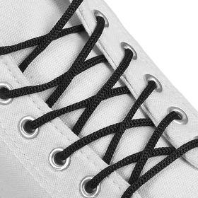 Шнурки для обуви, круглые, d = 3 мм, 90 см, цвет чёрный