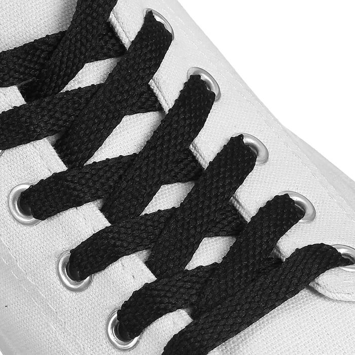Шнурки для обуви плоские, 8 мм, 90 см, цвет чёрный