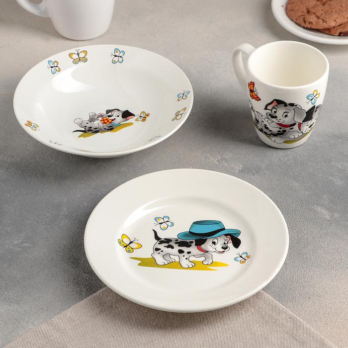 """Набор посуды """"Озорные щенки"""", 3 предмета: тарелка 17,5 см, миска 250 мл, кружка 220 мл"""