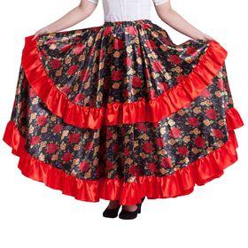 """Карнавальная юбка """"Цыганская"""", цвет красный, обхват талии 60-72 см, длина 95 см"""