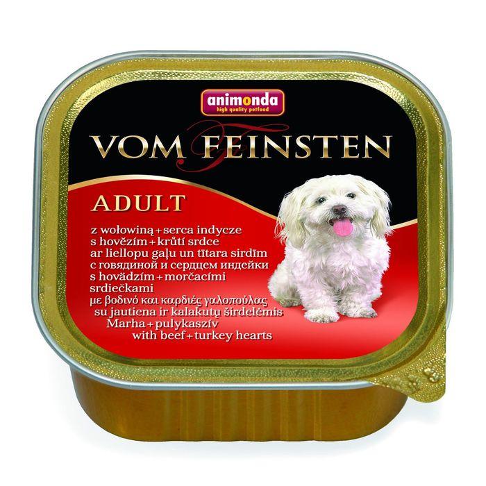 Влажный корм Animonda VOM FEINSTEN ADULT для собак, говядиной/сердце индейки, 150 г