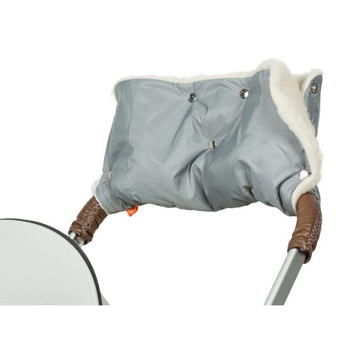 Муфта для рук на коляску меховая (однотонная), цвет серый МКМ03-000