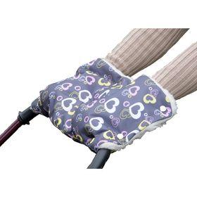 Муфта для рук на коляску меховая, принт сердечки МКМ09-000