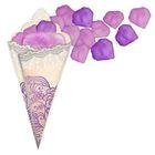 Лепестки роз с кульком, светло-сиреневые и пурпурные