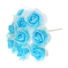 Букет d=17, 9 цветков, бело-голубой