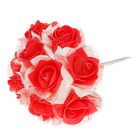Букет d=17, 9 цветков, бело-красный