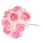Букет d=17, 9 цветков, бело-розовый