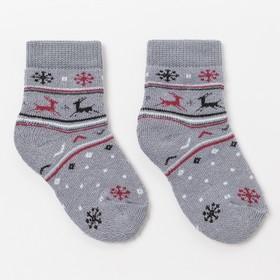 Носки детские плюшевые С322 цвет серый, принт МИКС, р-р 12-14 Ош