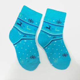 Носки детские плюшевые С322 цвет бирюза, принт МИКС, р-р 14-16 Ош