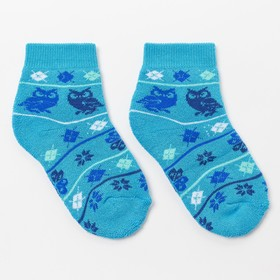 Носки детские плюшевые С322 цвет бирюза, принт МИКС, р-р 16-18 Ош