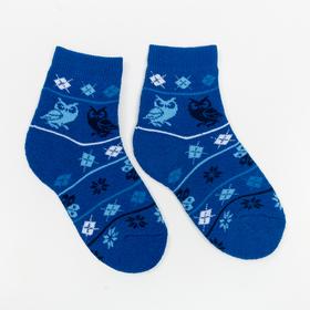 Носки детские плюшевые С322 цвет васильковый, принт МИКС, р-р 16-18 Ош