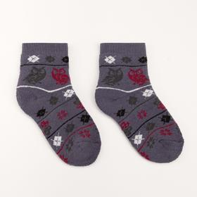 Носки детские плюшевые С322 цвет серый, принт МИКС, р-р 16-18 Ош