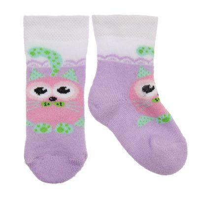 Носки детские плюшевые С729 цвет сиреневый, принт МИКС, р-р 11-12