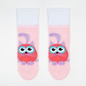 Носки детские плюшевые С729 цвет светло-розовый, принт МИКС, р-р 9-10 Ош