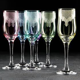 Набор бокалов для шампанского «Крокус», 200 мл, 6 шт, гравировка