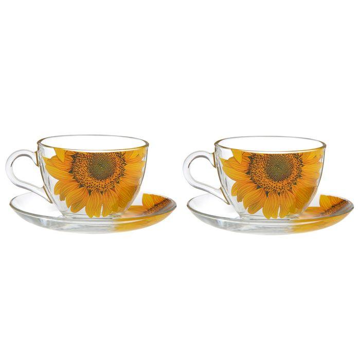 "Набор чайный подарочный ""Дуэт. Подсолнух"" на 2 персоны: 2 чашки 200 мл, 2 блюдца"