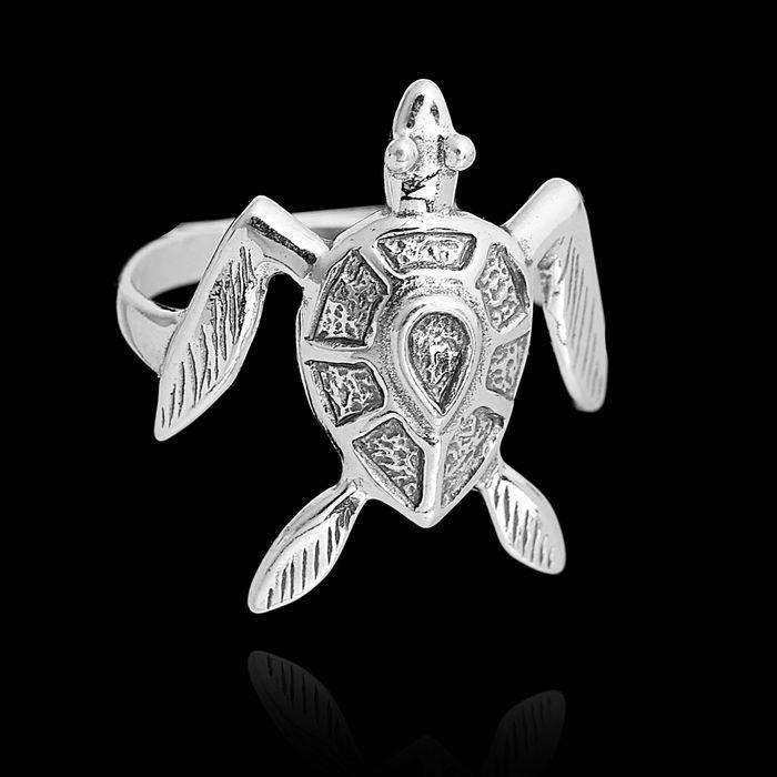 """Кольцо """"Морская черепаха"""", размер 17, цвет чернёное серебро"""