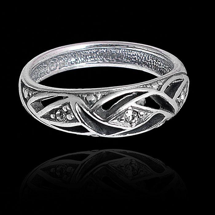"""Кольцо """"Бархат"""", размер 18, цвет белый в чернёном серебре"""