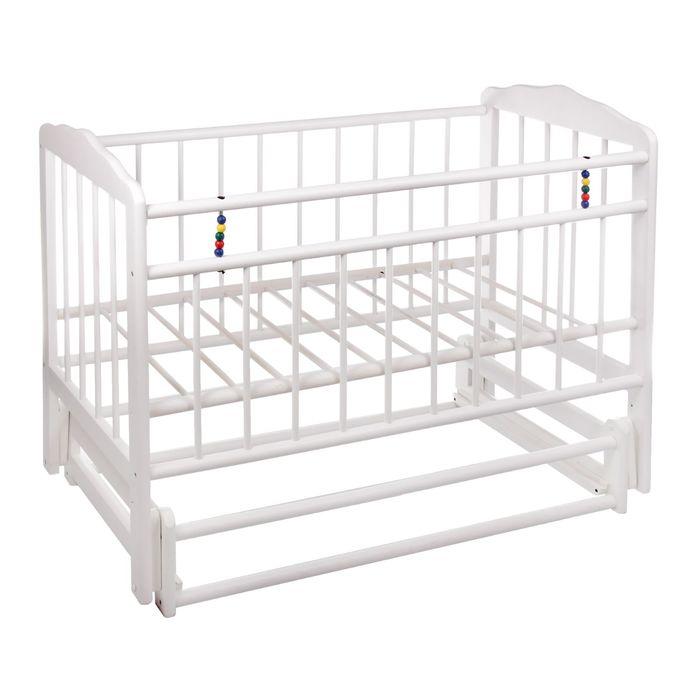 Детская кроватка «Женечка-5» на маятнике, цвет белый