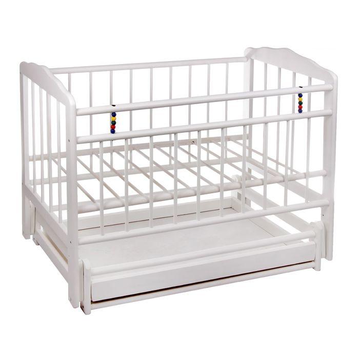 Детская кроватка «Женечка-6» на маятнике, с ящиком, цвет белый