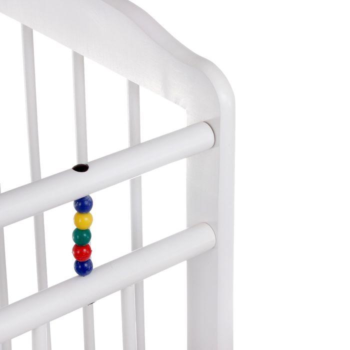 Детская кроватка «Женечка-1» на колёсах, цвет белый
