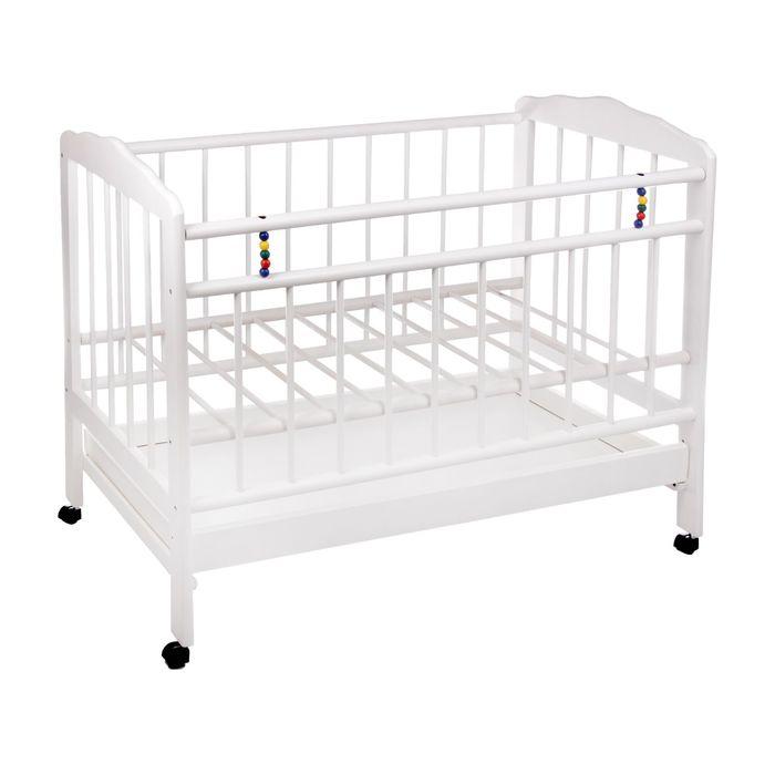 Детская кроватка «Женечка-2» на колёсах, с ящиком, цвет белый
